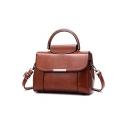 Fashion Vintage Solid Color Top Handle Satchel Shoulder Bag for Women 22*11*16 CM