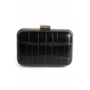 New Stylish Solid Color Crocodile Pattern Mini Black PU Box Bag Evening Clutch 13*8.5*5.5 CM