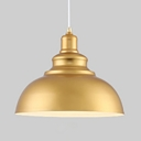 Industrial Dome Shape Ceiling Light Single Light Metal Hanging Light in Gold for Foyer Hallway