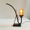Pipe Study Room Desk Light Clear Glass Shade 1 Light Creative Reading Light in Bronze
