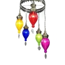 Fluted Glass Teardrop Chandelier KTV Cafe 5 Lights Moroccan Style Suspension Light with Multi-Color