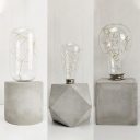 Study Room Bare Bulb Desk Light Cement 1 Light Retro Loft Gray Table Light with Cylinder/Square/Polygon Body