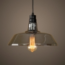 Smoke Gray Glass Barn Pendant Lamp Cafe Restaurant 1 Light Vintage Style Suspension Light