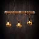 Cafe Wire Frame Suspension Light Wood & Rope 3 Lights Vintage Style Beige Island Light
