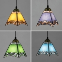 Craftsman Dining Room Pendant Lamp Glass 1 Light Antique Style Ceiling Light in Dark Blue/Green/Sky Blue/Yellow