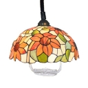 Rustic Sunflower Ceiling Light with Telephone Cord Stained Glass 1 Light Pendant Light for Foyer