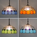 Tiffany Style Pendant Light Grid Dome Shade 12 Inch Glass Hanging Lamp for Bedroom Stair