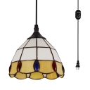 Glass Lattice Dome Hanging Light with Plug In Cord Hallway 1 Light Traditional Pendant Lamp