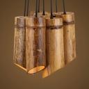 Rustic Style Tube Pendant Light 8 Heads Bamboo Suspension Light in Beige for Restaurant