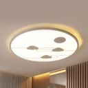 Creative Sky LED Flush Light Acrylic Black/White Ceiling Light in Warm/White/Third Gear for Child Bedroom
