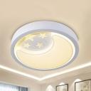 Creative Star Moon Ceiling Lamp Metal 3 Modes Optional LED Flush Mount Light for Kindergarten