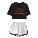 Funny Bone Letter DOG MOM Print Short Sleeve Cropped Tee Dolphin Shorts Sport Casual Two-Piece Set