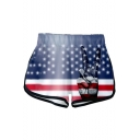 Independence Day Fashion Star Stripe Flag Finger Print Elastic Waist Casual Sport Dolphin Shorts