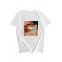 Cool Funny Fish Eye Pattern Short Sleeve Round Neck Summer Tee
