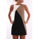 Fashion Colorblocked Geometric Round Neck Sleeveless Casual Loose Mini Tank Dress