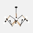 Modern Black/White Hanging Light Spider 8/10/12/16 Lights Metal Chandelier for Coffee Shop