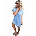 Summer New Fashion Basic Simple Plain Light Blue Short Sleeve Button Front Mini Denim Dress