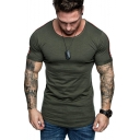 Summer Trendy Stripe Patched Short Sleeve Round Neck Slim Fit T-Shirt