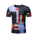 Summer Mens Unique Colorblocked Star Pattern Round Neck Short Sleeve Fitted T-Shirt