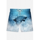 Mens Cool Wolf Head Letter WINTER IS COMING Pattern Drawstring Waist Blue Casual Loose Swim Trunks Swim Shorts