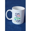 Funny Letter IF YOU WERE STUNG Pattern White Porcelain Mug Cup