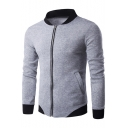 Mens Fashion Contrast Hem Stand Collar Long Sleeve Zip Up Fitted Sweatshirt Jacket