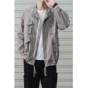 Summer Guys Simple Plain Lapel Collar Long Sleeve Multi-Pocket Drawstring Hem Zip Up Outdoor Breathable Fishing Work Jacket