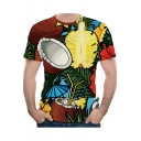 Summer Tropical Coconut Floral Pattern Short Sleeve Slim Fitted Tee