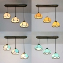 Living Room Domed Ceiling Pendant Glass 3 Lights Tiffany Style Hanging Light with 4 Modes Choice