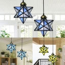 Creative Star Pendant Light 2 Lights Glass Ceiling Pendant in Blue/Sky Blue/Yellow for Hallway