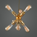 Brass Starburst Shaped Pendant Light 6 Lights Metal Chandelier Light for Dining Room