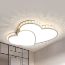 White Double Heart Ceiling Mount Light with Clear Crystal Kids 4 Modes Optional Flush Light for Bedroom