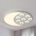 Night View LED Flushmount Light Kids Metal White Ceiling Light in Warm/White for Nursing Room