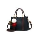 Fashion Colorblock Leather Tape Patched Plash Ball Embellishment Work Satchel Handbag 26*13*18 CM