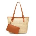 Summer Fashion Plain Straw Beach Bag Tote Bucket Bag with Purse for Women 33*16*27 CM