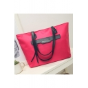 Large Capacity Leather Patched Waterproof Nylon Travel Tote Shoulder Bag 44.5*29.5*12.5 CM