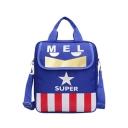 Stylish Colorblock Stripe Star Letter SUPER Printed Portable School Shoulder Bag Backpack for Juniors 28*8*32 CM