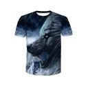 New Fashion 3D Rain Wolf Pattern Round Neck Short Sleeve Blue T-Shirt