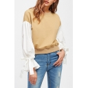 Chic Bow-Tied Flared Cuff Patched Long Sleeve Round Neck Khaki Sweatshirt