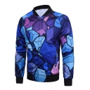 Mens New Fashion Blue Geometric Pattern Stand Collar Long Sleeve Zip Up Fitted Jacket