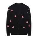 Mens Funny Cartoon Simple Embroidery V-Neck Long Sleeve Button Down Black Slim Cardigan