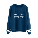 Lovely Cute Cartoon Cat Pattern Basic Round Neck Long Sleeve Loose Fit Sweatshirt