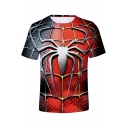 Cool Red Spider Far From Home 3D Web Printed Short Sleeve Summer Casual Tee