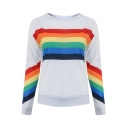 Fashion Colorful Stripe Printed Round Neck Long Sleeve White Pullover Sweatshirt