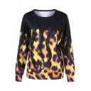 Cool Unique Octopus Leopard Printed Round Neck Long Sleeve Black Sweatshirt
