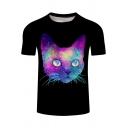 Summer Popular Galaxy Cat Printed Basic Round Neck Short Sleeve Black Tee