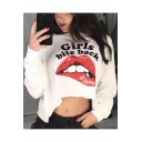 Cool Mouth Letter GIRLS BITE BACK Printed Long Sleeve Cropped Casual Sweatshirt