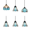 Traditional Blue Ceiling Pendant Cone/Mix Shade 3 Lights Art Glass Island Lamp for Dining Table