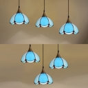 Tiffany Stylish Dome Pendant Light 3 Heads Glass Suspension Light in Blue for Study Room