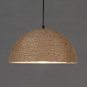 Beige Dome Shade Hanging Lamp 1 Light Rustic Stylish Manila Rope Pendant Light for Bar Cottage